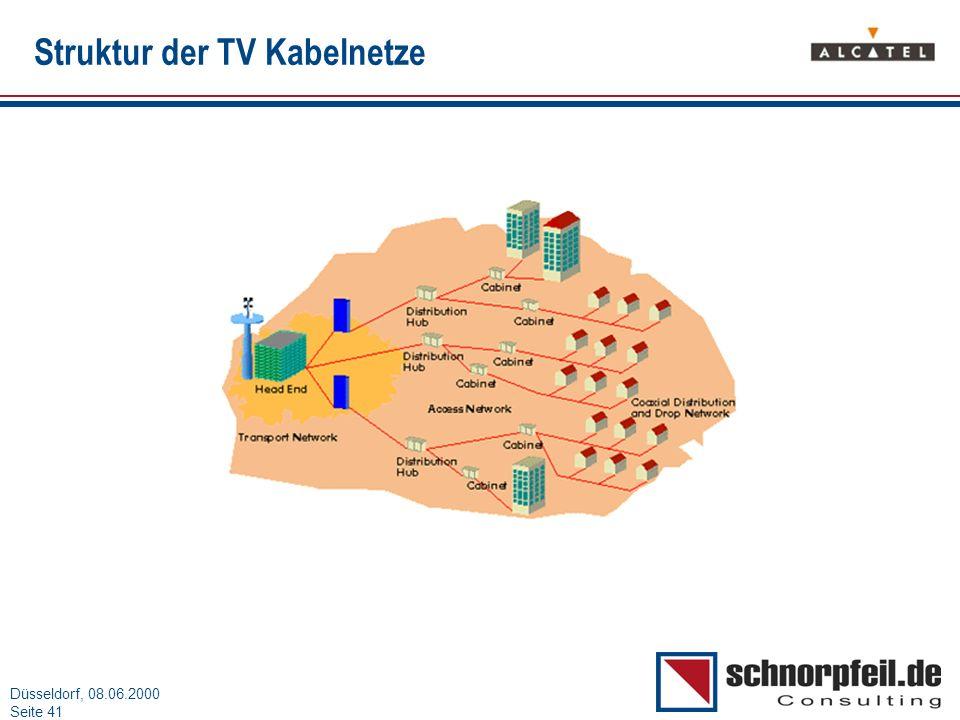 Folie 41München, 15.03.2000 Düsseldorf, 08.06.2000 Seite 41 Struktur der TV Kabelnetze