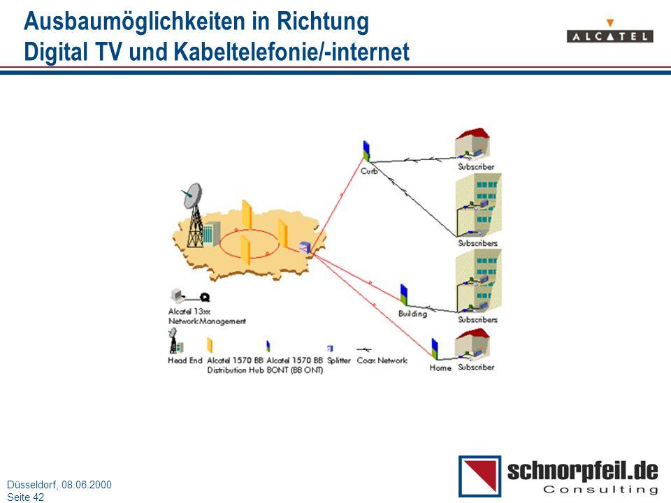 Folie 42München, 15.03.2000 Düsseldorf, 08.06.2000 Seite 42 Ausbaumöglichkeiten in Richtung Digital TV und Kabeltelefonie/-internet
