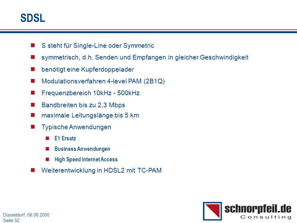 Folie 52München, 15.03.2000 Düsseldorf, 08.06.2000 Seite 52 SDSL S steht für Single-Line oder Symmetric S steht für Single-Line oder Symmetric symmetr