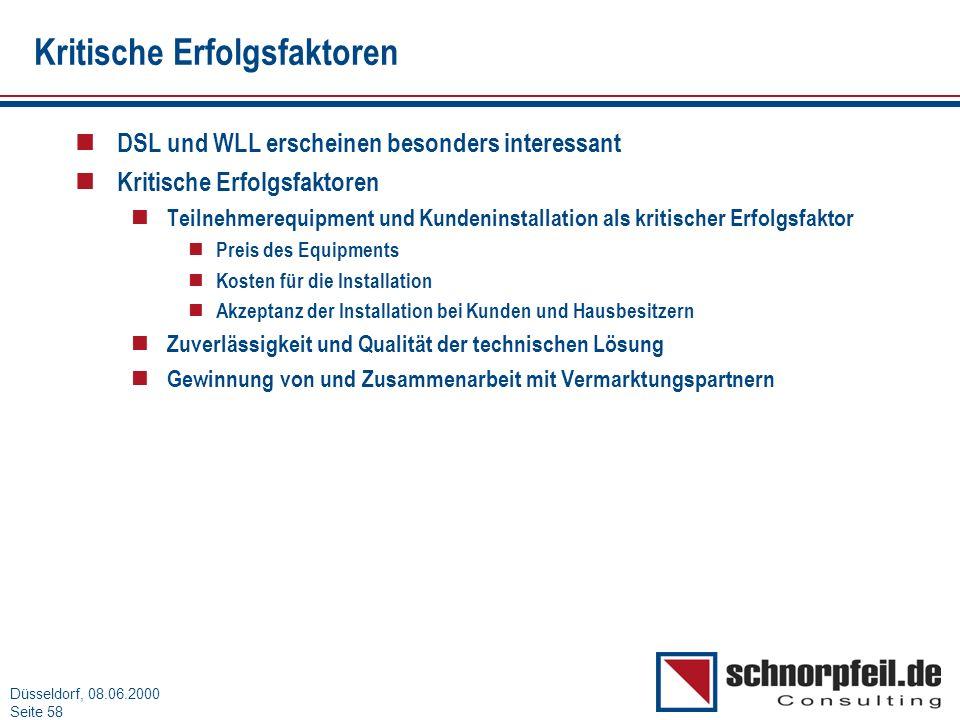 Folie 58München, 15.03.2000 Düsseldorf, 08.06.2000 Seite 58 Kritische Erfolgsfaktoren n DSL und WLL erscheinen besonders interessant n Kritische Erfol