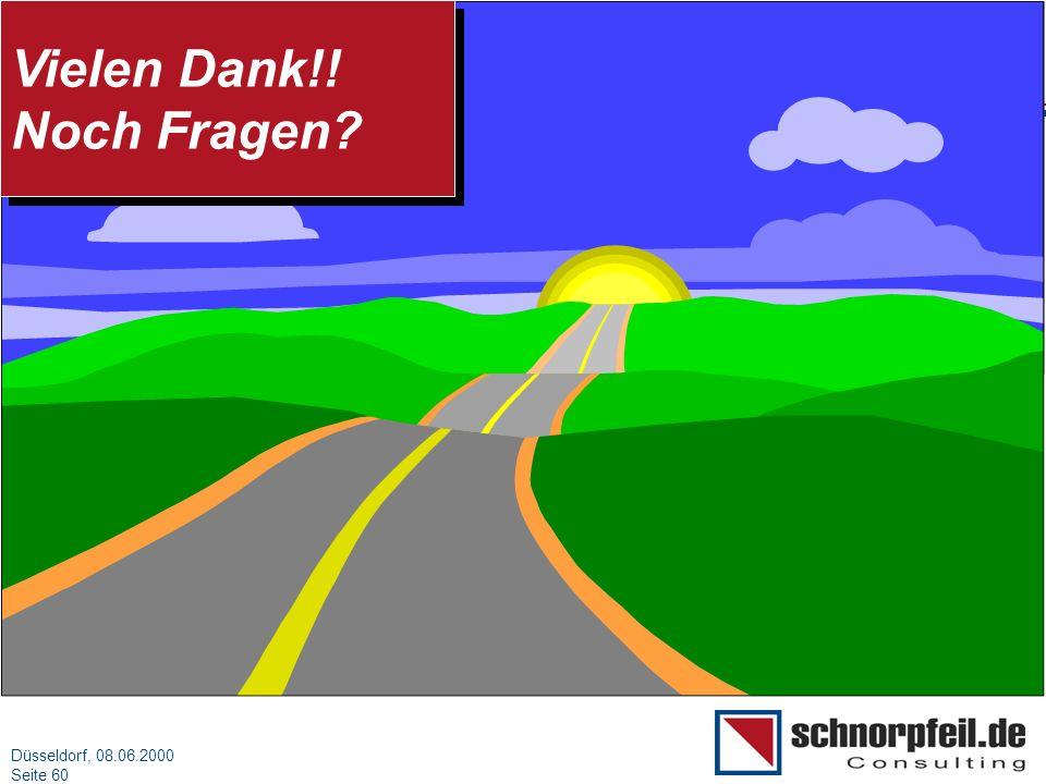 Folie 60München, 15.03.2000 Düsseldorf, 08.06.2000 Seite 60 Vielen Dank!! Noch Fragen? Vielen Dank!! Noch Fragen?