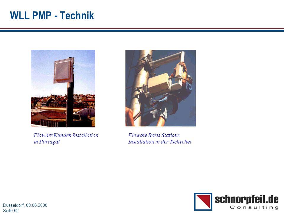 Folie 62München, 15.03.2000 Düsseldorf, 08.06.2000 Seite 62 WLL PMP - Technik Floware Kunden Installation in Portugal Floware Basis Stations Installat