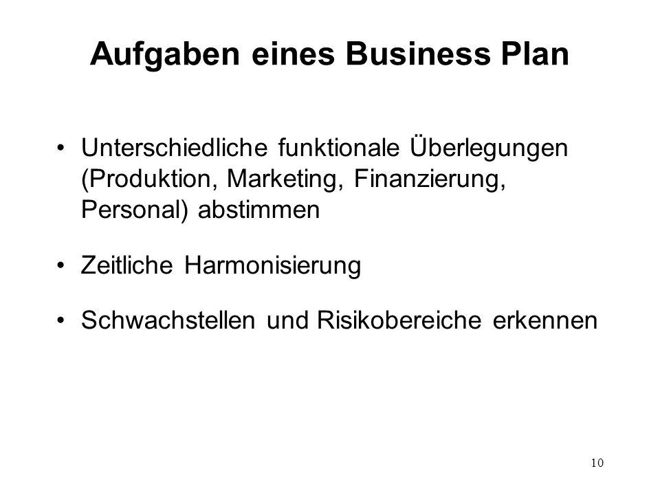 10 Aufgaben eines Business Plan Unterschiedliche funktionale Überlegungen (Produktion, Marketing, Finanzierung, Personal) abstimmen Zeitliche Harmonis