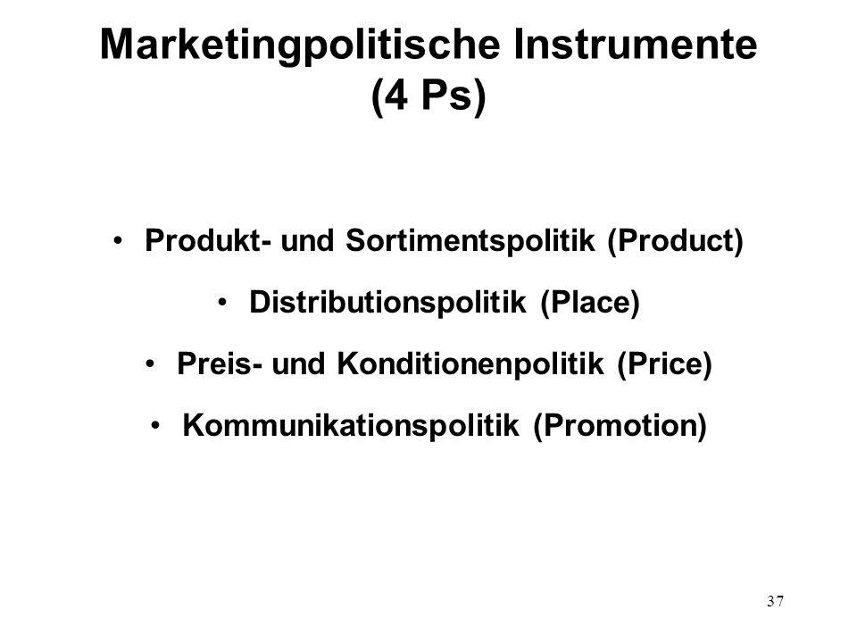 37 Marketingpolitische Instrumente (4 Ps) Produkt- und Sortimentspolitik (Product) Distributionspolitik (Place) Preis- und Konditionenpolitik (Price)