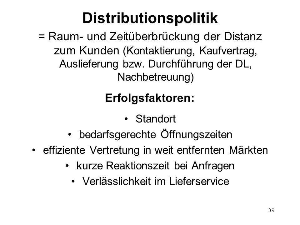 39 Distributionspolitik = Raum- und Zeitüberbrückung der Distanz zum Kunden (Kontaktierung, Kaufvertrag, Auslieferung bzw. Durchführung der DL, Nachbe
