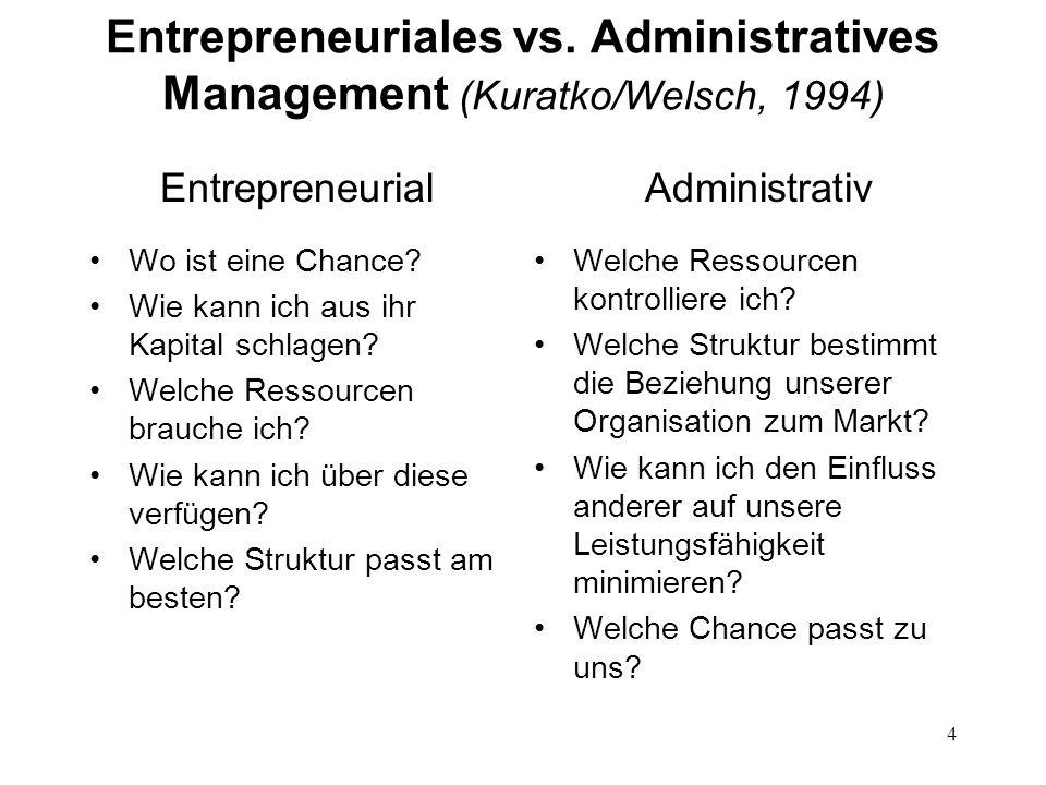 4 Entrepreneuriales vs. Administratives Management (Kuratko/Welsch, 1994) Entrepreneurial Wo ist eine Chance? Wie kann ich aus ihr Kapital schlagen? W