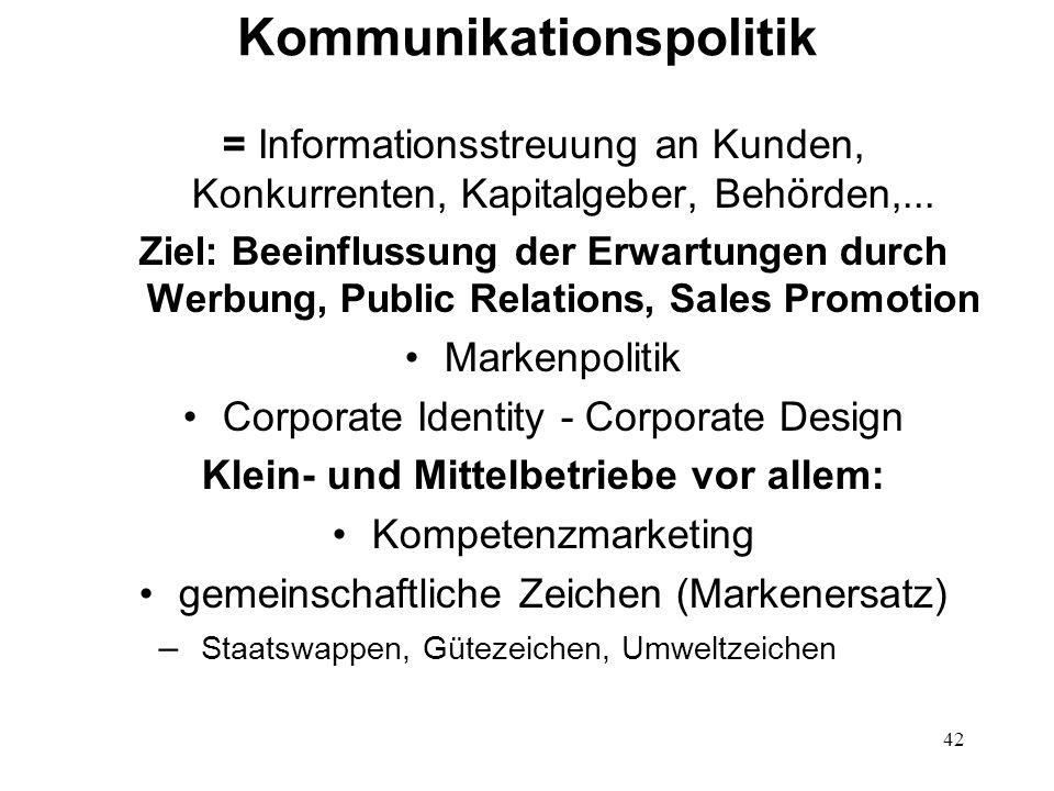 42 Kommunikationspolitik = Informationsstreuung an Kunden, Konkurrenten, Kapitalgeber, Behörden,... Ziel: Beeinflussung der Erwartungen durch Werbung,