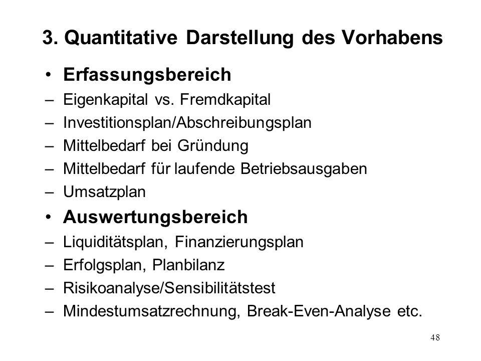 48 3. Quantitative Darstellung des Vorhabens Erfassungsbereich –Eigenkapital vs. Fremdkapital –Investitionsplan/Abschreibungsplan –Mittelbedarf bei Gr