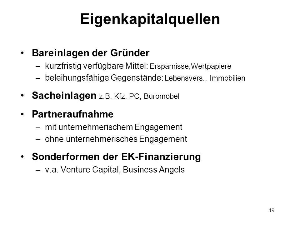 49 Eigenkapitalquellen Bareinlagen der Gründer –kurzfristig verfügbare Mittel: Ersparnisse,Wertpapiere –beleihungsfähige Gegenstände: Lebensvers., Imm