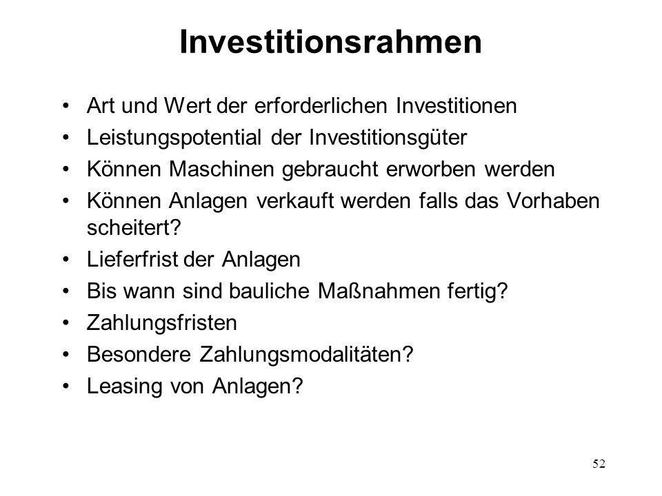 52 Investitionsrahmen Art und Wert der erforderlichen Investitionen Leistungspotential der Investitionsgüter Können Maschinen gebraucht erworben werde