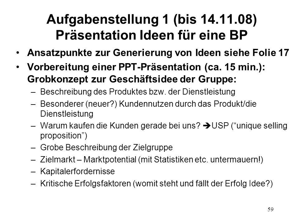 59 Aufgabenstellung 1 (bis 14.11.08) Präsentation Ideen für eine BP Ansatzpunkte zur Generierung von Ideen siehe Folie 17 Vorbereitung einer PPT-Präse