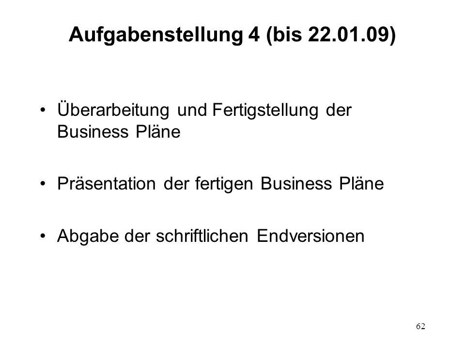 62 Aufgabenstellung 4 (bis 22.01.09) Überarbeitung und Fertigstellung der Business Pläne Präsentation der fertigen Business Pläne Abgabe der schriftli