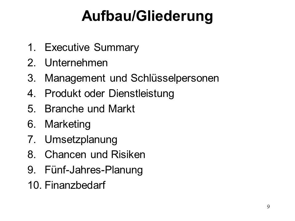 9 Aufbau/Gliederung 1.Executive Summary 2.Unternehmen 3.Management und Schlüsselpersonen 4.Produkt oder Dienstleistung 5.Branche und Markt 6.Marketing
