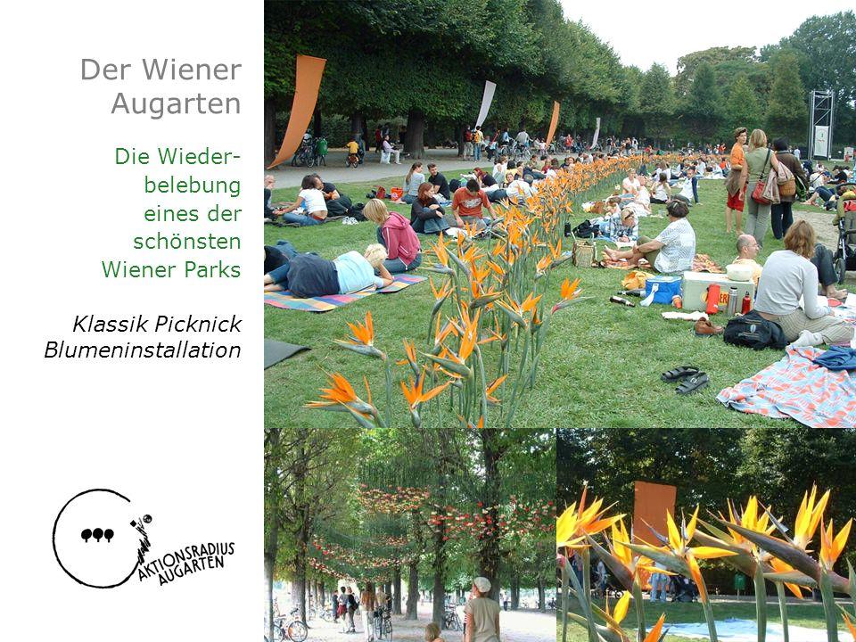 Der Wiener Augarten Die Wieder- belebung eines der schönsten Wiener Parks Klassik Picknick Blumeninstallation