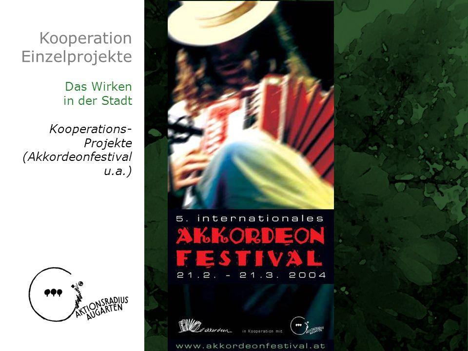 Kooperation Einzelprojekte Das Wirken in der Stadt Kooperations- Projekte (Akkordeonfestival u.a.)