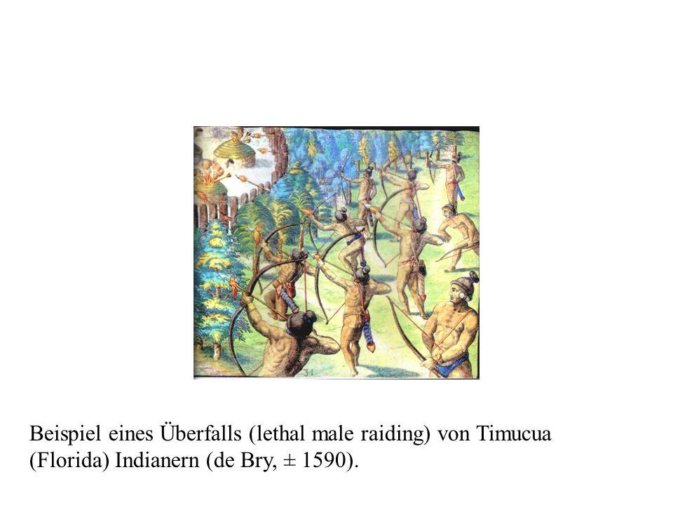 Beispiel eines Überfalls (lethal male raiding) von Timucua (Florida) Indianern (de Bry, ± 1590).