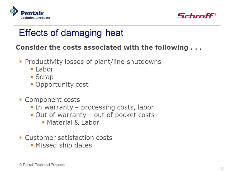 11 © Pentair Technical Products Consider the costs associated with the following...
