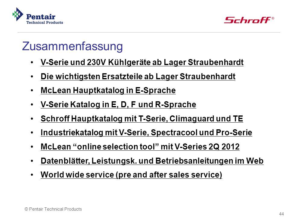 44 © Pentair Technical Products V-Serie und 230V Kühlgeräte ab Lager Straubenhardt Die wichtigsten Ersatzteile ab Lager Straubenhardt McLean Hauptkata