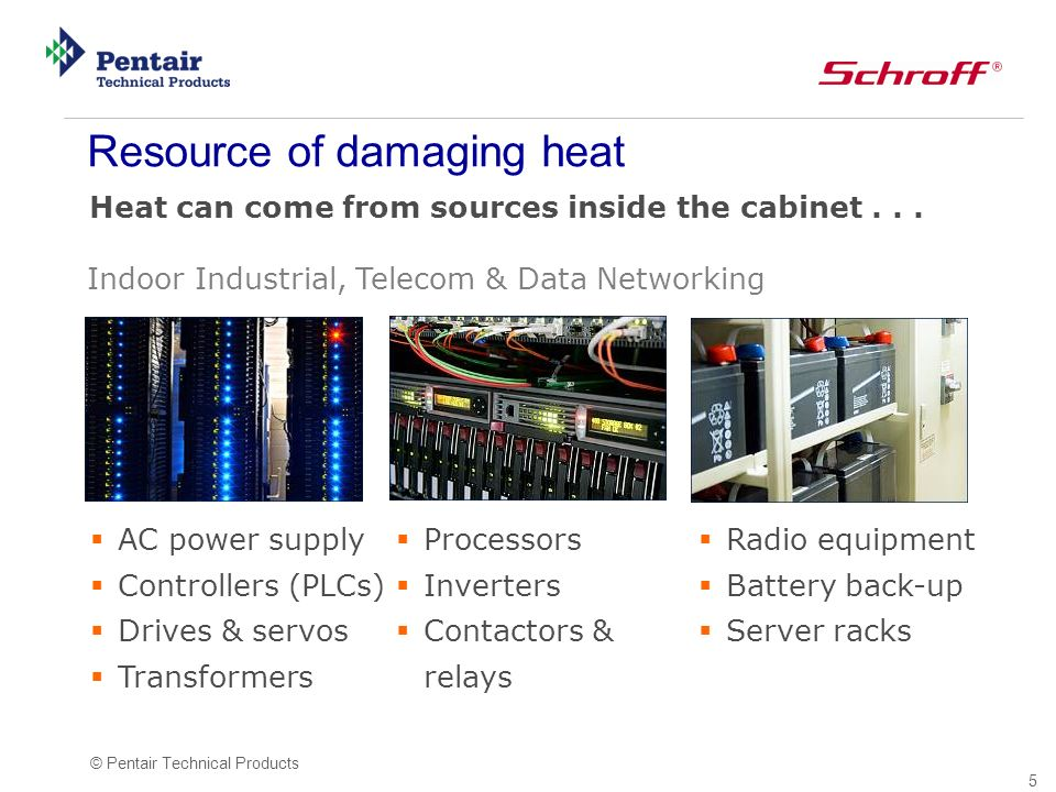 5 © Pentair Technical Products Heat can come from sources inside the cabinet...