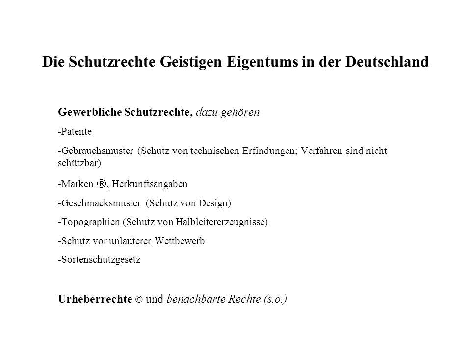 Die Schutzrechte Geistigen Eigentums in der Deutschland Gewerbliche Schutzrechte, dazu gehören -Patente -Gebrauchsmuster (Schutz von technischen Erfindungen; Verfahren sind nicht schützbar) -Marken, Herkunftsangaben -Geschmacksmuster (Schutz von Design) -Topographien (Schutz von Halbleitererzeugnisse) -Schutz vor unlauterer Wettbewerb -Sortenschutzgesetz Urheberrechte und benachbarte Rechte (s.o.)