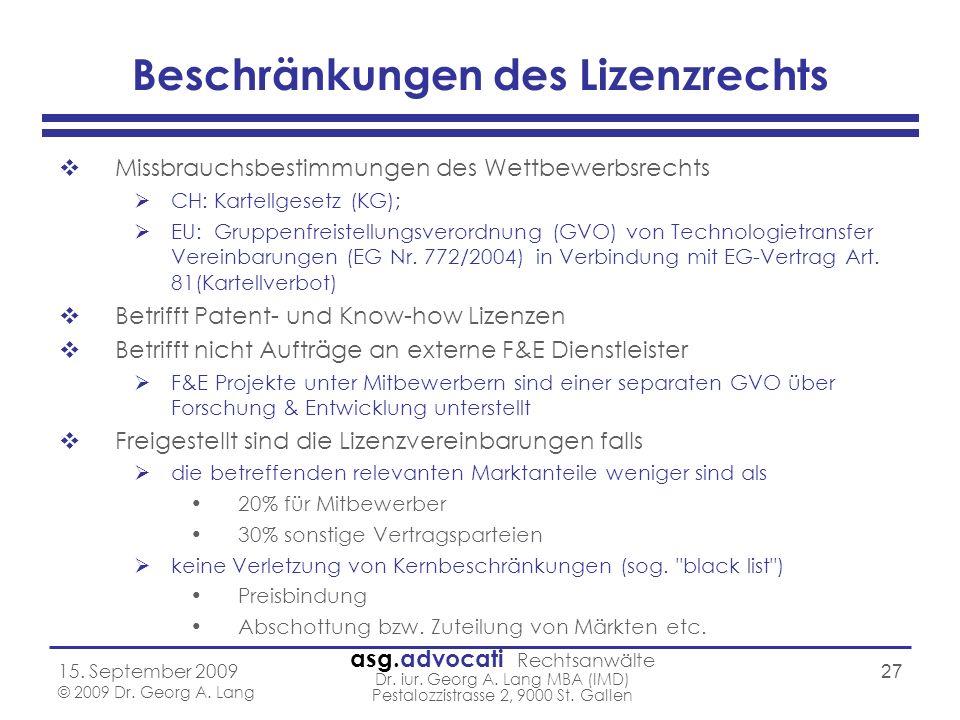 asg.advocati Rechtsanwälte Dr. iur. Georg A. Lang MBA (IMD) Pestalozzistrasse 2, 9000 St. Gallen 15. September 2009 © 2009 Dr. Georg A. Lang 27 Beschr