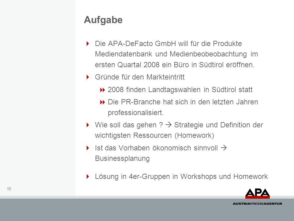 15 Die APA-DeFacto GmbH will für die Produkte Mediendatenbank und Medienbeobeobachtung im ersten Quartal 2008 ein Büro in Südtirol eröffnen.
