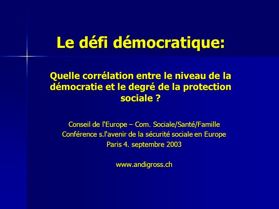 Le défi démocratique: Quelle corrélation entre le niveau de la démocratie et le degré de la protection sociale .