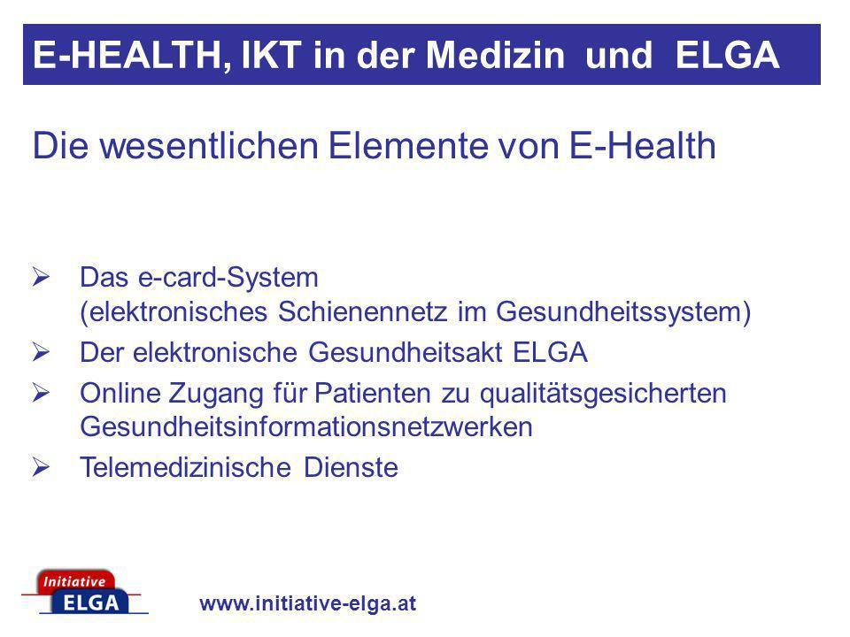 www.initiative-elga.at Das e-card-System (elektronisches Schienennetz im Gesundheitssystem) Der elektronische Gesundheitsakt ELGA Online Zugang für Pa