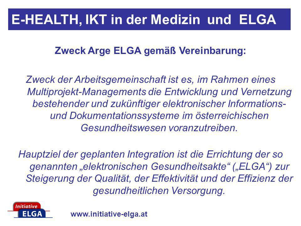 www.initiative-elga.at Zweck Arge ELGA gemäß Vereinbarung: Zweck der Arbeitsgemeinschaft ist es, im Rahmen eines Multiprojekt-Managements die Entwickl