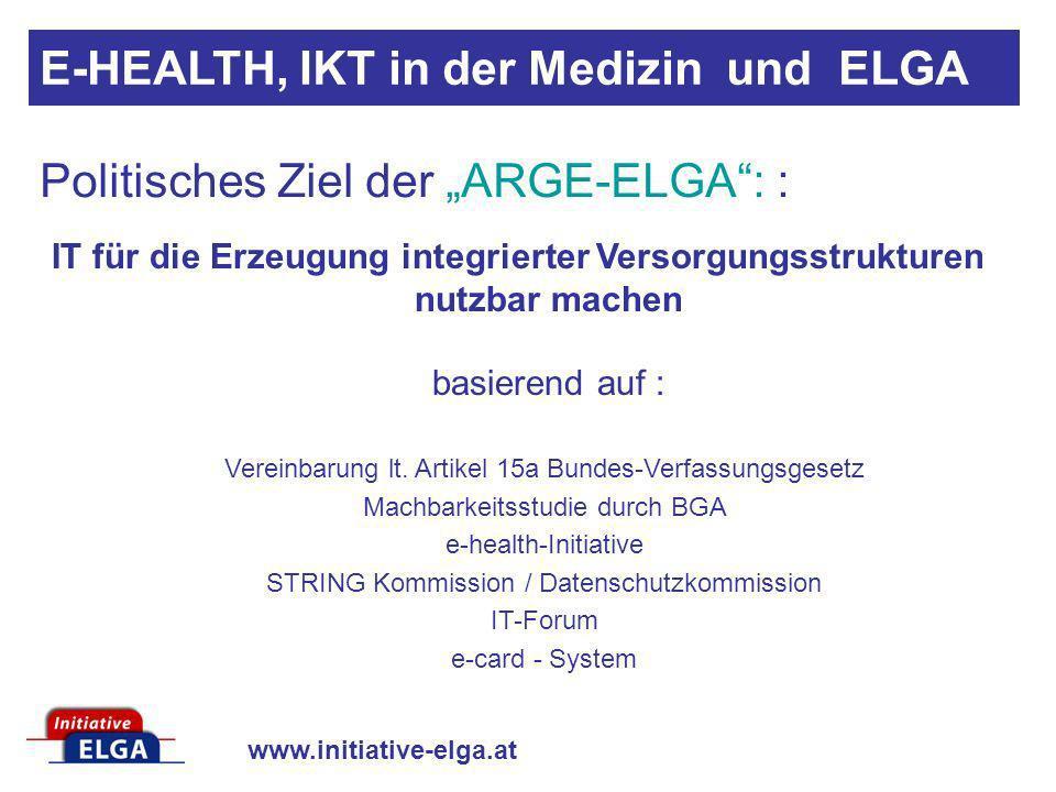www.initiative-elga.at IT für die Erzeugung integrierter Versorgungsstrukturen nutzbar machen basierend auf : Vereinbarung lt. Artikel 15a Bundes-Verf