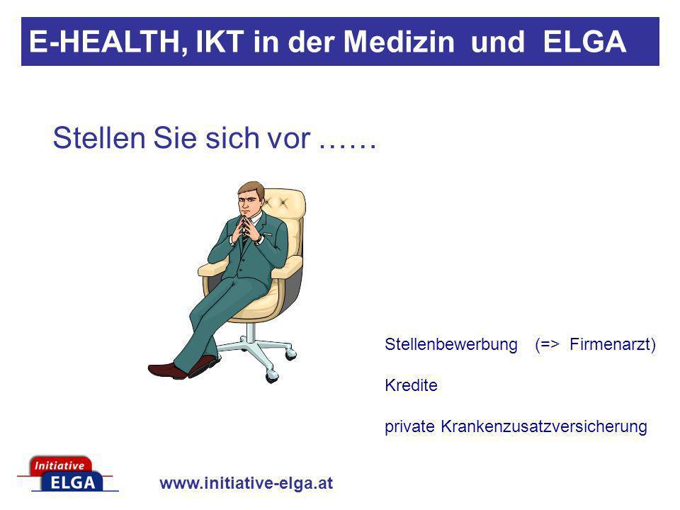 www.initiative-elga.at Arge ELGA: Arbeitsgemeinschaft Elektronische Gesundheitsakte Arbeitsgrundlage der Arge ELGA ist die Vereinbarung zwischen Bund, Ländern und Sozialversicherungen Juli 2006 : Beschluss der Bundesgesundheitskommission bezüglich Einrichtung der Arge ELGA und finanzieller Dotierung Die Arge ELGA ist seit September 2006 operativ aktiv Standort: Schiffamtsgasse 15, 1020 Wien www.arge-elga.at E-HEALTH, IKT in der Medizin und ELGA