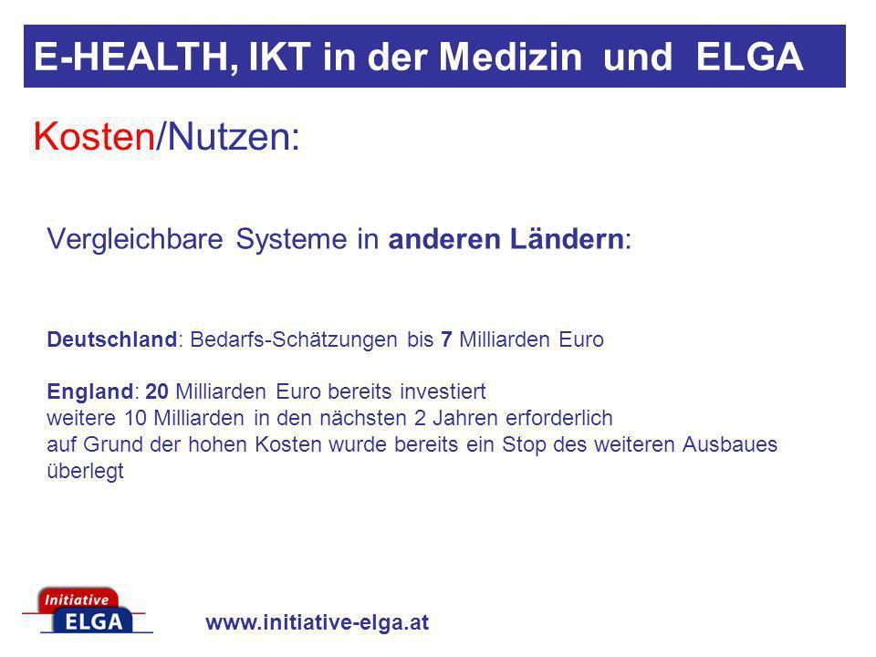 www.initiative-elga.at Vergleichbare Systeme in anderen Ländern: Deutschland: Bedarfs-Schätzungen bis 7 Milliarden Euro England: 20 Milliarden Euro be