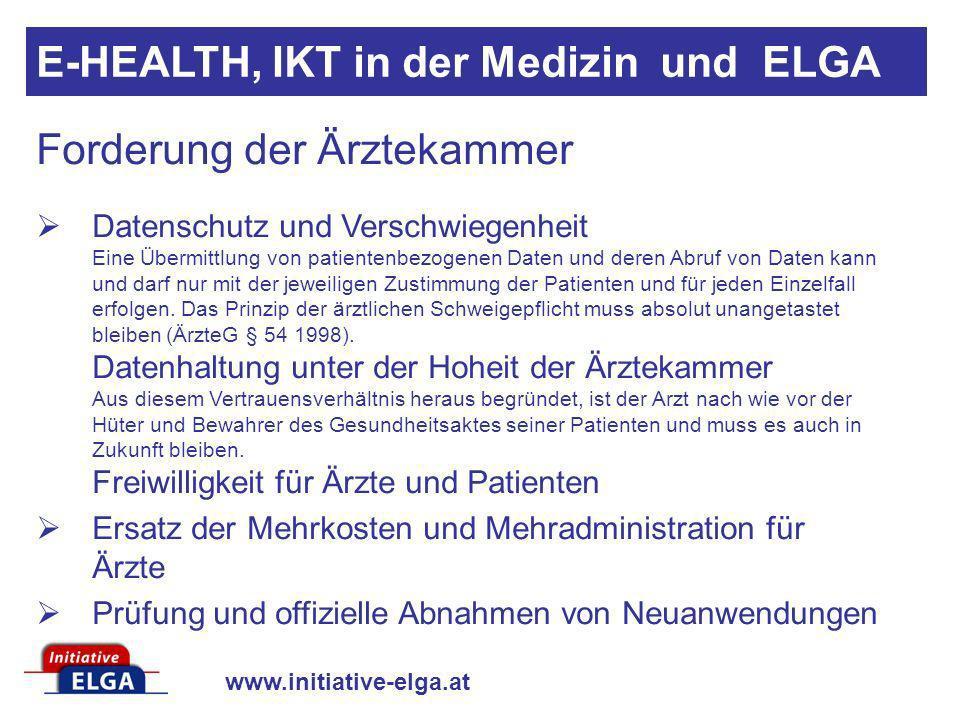 www.initiative-elga.at Forderung der Ärztekammer Datenschutz und Verschwiegenheit Eine Übermittlung von patientenbezogenen Daten und deren Abruf von D