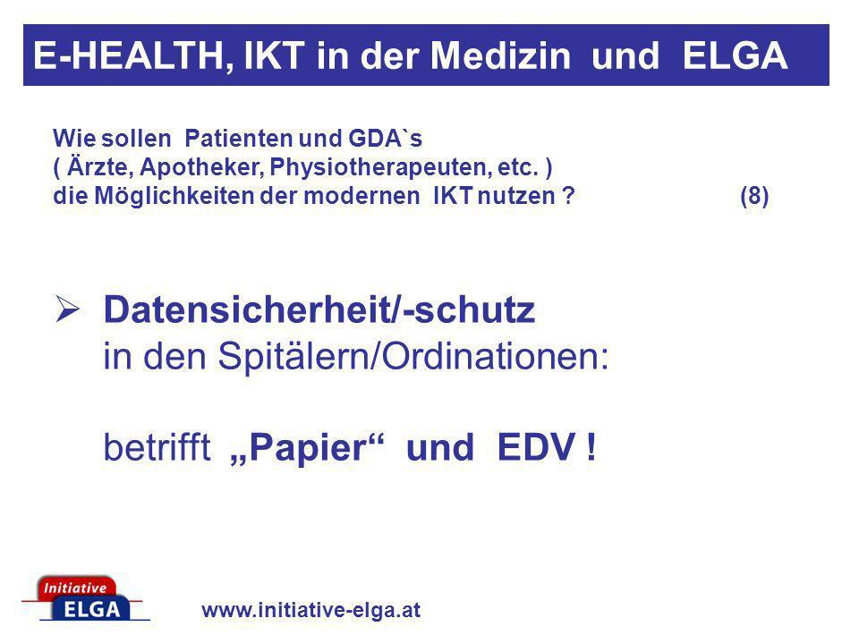 www.initiative-elga.at Datensicherheit/-schutz in den Spitälern/Ordinationen: betrifft Papier und EDV ! Wie sollen Patienten und GDA`s ( Ärzte, Apothe