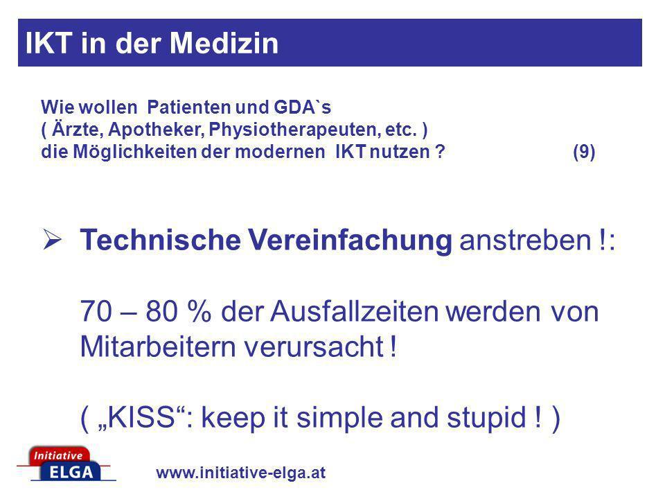 www.initiative-elga.at Technische Vereinfachung anstreben !: 70 – 80 % der Ausfallzeiten werden von Mitarbeitern verursacht ! ( KISS: keep it simple a