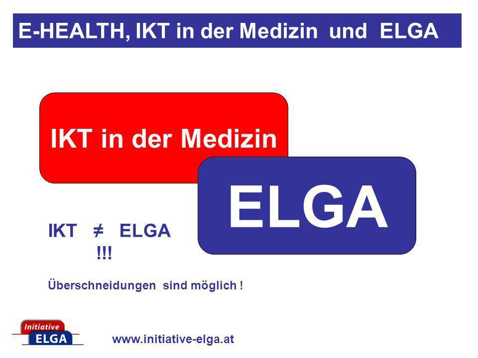 www.initiative-elga.at IKT in der Medizin ELGA IKT ELGA !!! Überschneidungen sind möglich ! E-HEALTH, IKT in der Medizin und ELGA