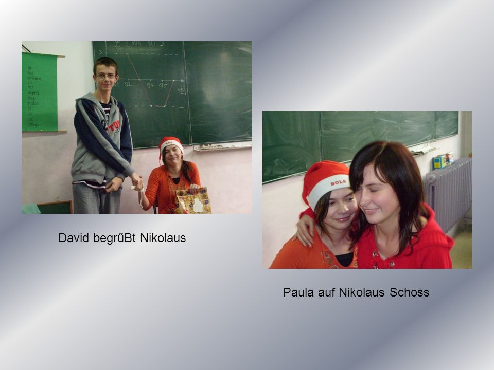 David begrűBt Nikolaus Paula auf Nikolaus Schoss