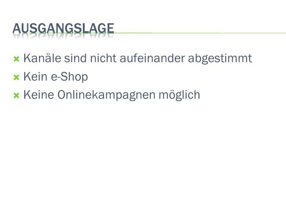 Kanäle sind nicht aufeinander abgestimmt Kein e-Shop Keine Onlinekampagnen möglich