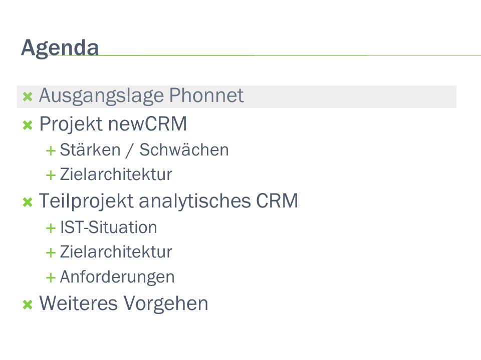 Agenda Ausgangslage Phonnet Projekt newCRM Stärken / Schwächen Zielarchitektur Teilprojekt analytisches CRM IST-Situation Zielarchitektur Anforderunge