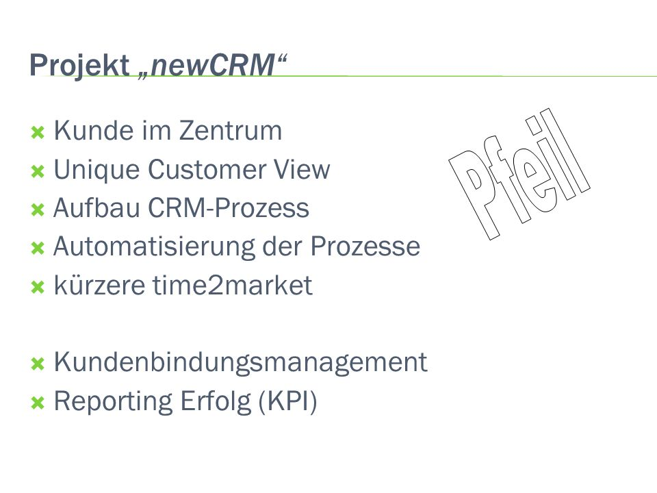 Projekt newCRM Kunde im Zentrum Unique Customer View Aufbau CRM-Prozess Automatisierung der Prozesse kürzere time2market Kundenbindungsmanagement Repo