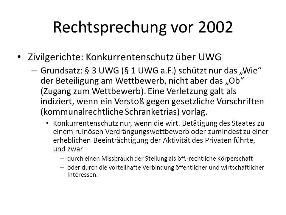 Rechtsprechung vor 2002 Zivilgerichte: Konkurrentenschutz über UWG – Grundsatz: § 3 UWG (§ 1 UWG a.F.) schützt nur das Wie der Beteiligung am Wettbewe