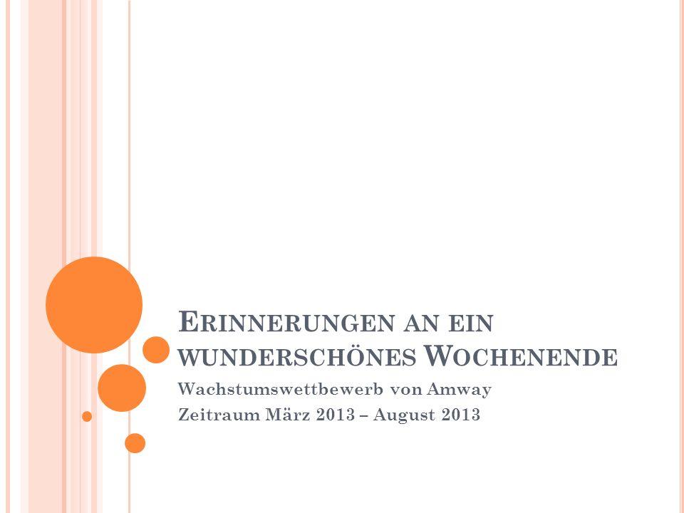 E RINNERUNGEN AN EIN WUNDERSCHÖNES W OCHENENDE Wachstumswettbewerb von Amway Zeitraum März 2013 – August 2013