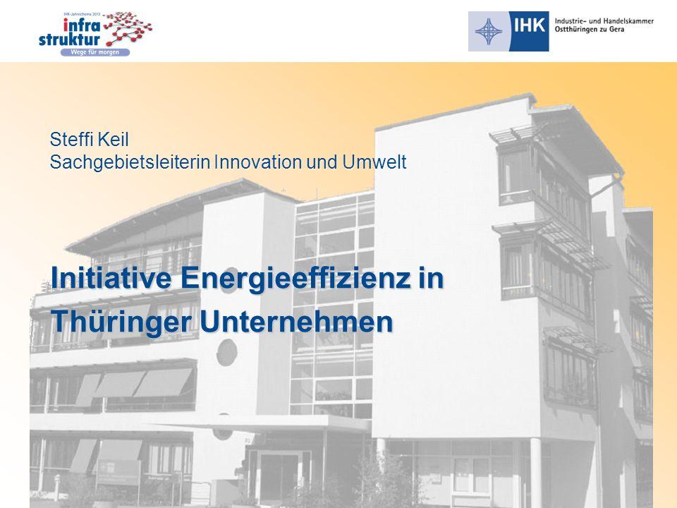 Initiative Energieeffizienz in Thüringer Unternehmen Steffi Keil Sachgebietsleiterin Innovation und Umwelt Steffi Keil Sachgebietsleiterin Innovation