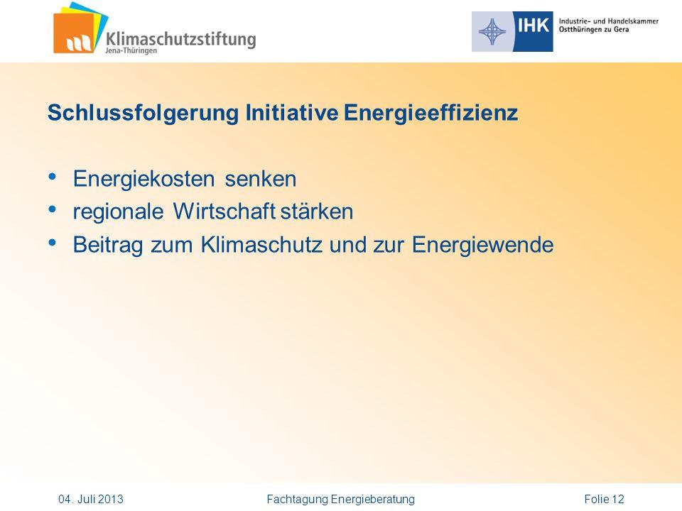 Schlussfolgerung Initiative Energieeffizienz Energiekosten senken regionale Wirtschaft stärken Beitrag zum Klimaschutz und zur Energiewende 04. Juli 2