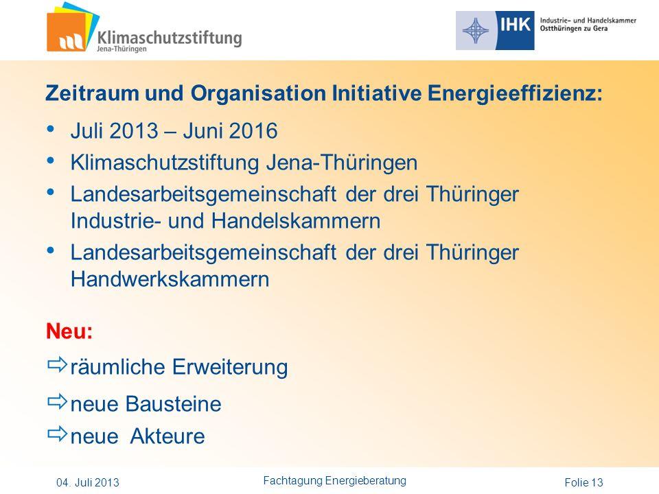 Folie 13 Zeitraum und Organisation Initiative Energieeffizienz: Juli 2013 – Juni 2016 Klimaschutzstiftung Jena-Thüringen Landesarbeitsgemeinschaft der