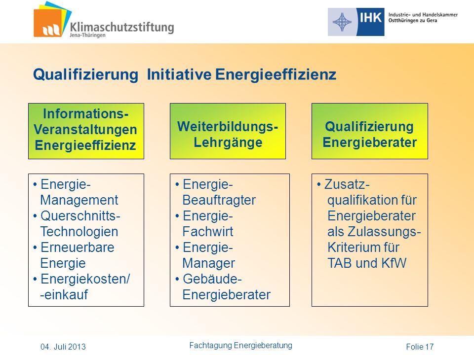 Folie 17 Qualifizierung Initiative Energieeffizienz Informations- Veranstaltungen Energieeffizienz Weiterbildungs- Lehrgänge Qualifizierung Energieber