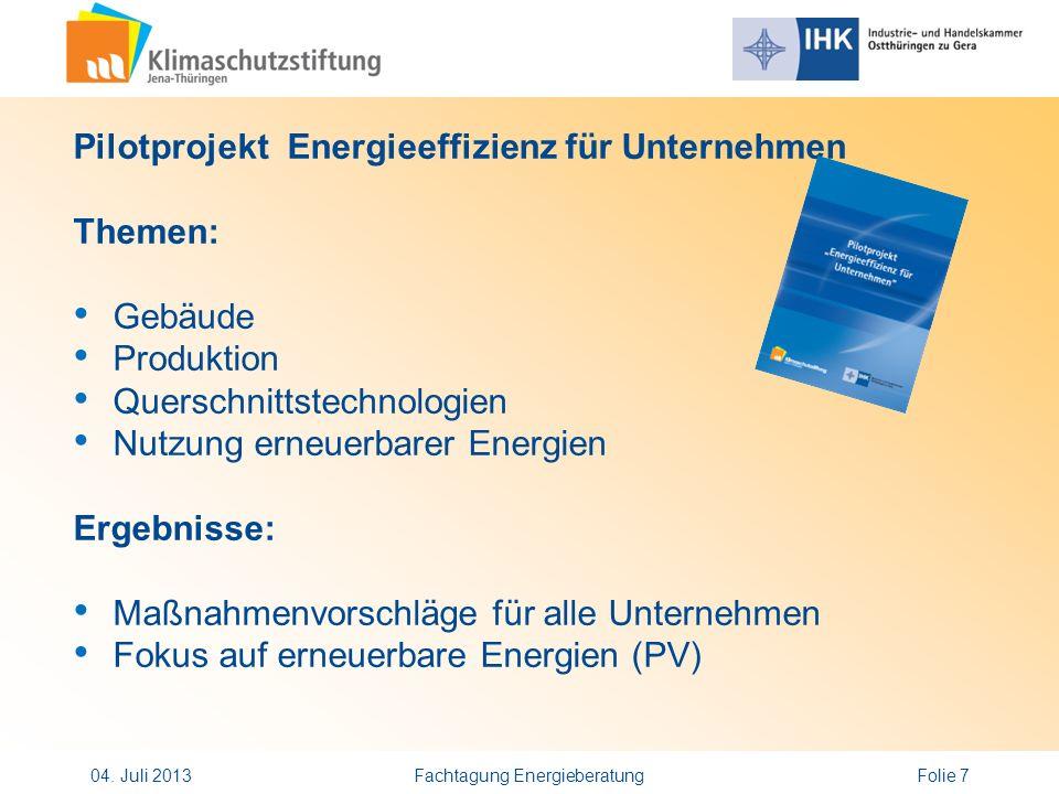 Pilotprojekt Energieeffizienz für Unternehmen Themen: Gebäude Produktion Querschnittstechnologien Nutzung erneuerbarer Energien Ergebnisse: Maßnahmenv