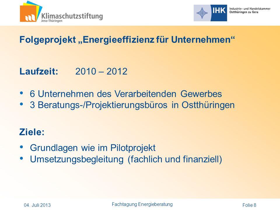 Folie 8 Folgeprojekt Energieeffizienz für Unternehmen Laufzeit:2010 – 2012 6 Unternehmen des Verarbeitenden Gewerbes 3 Beratungs-/Projektierungsbüros