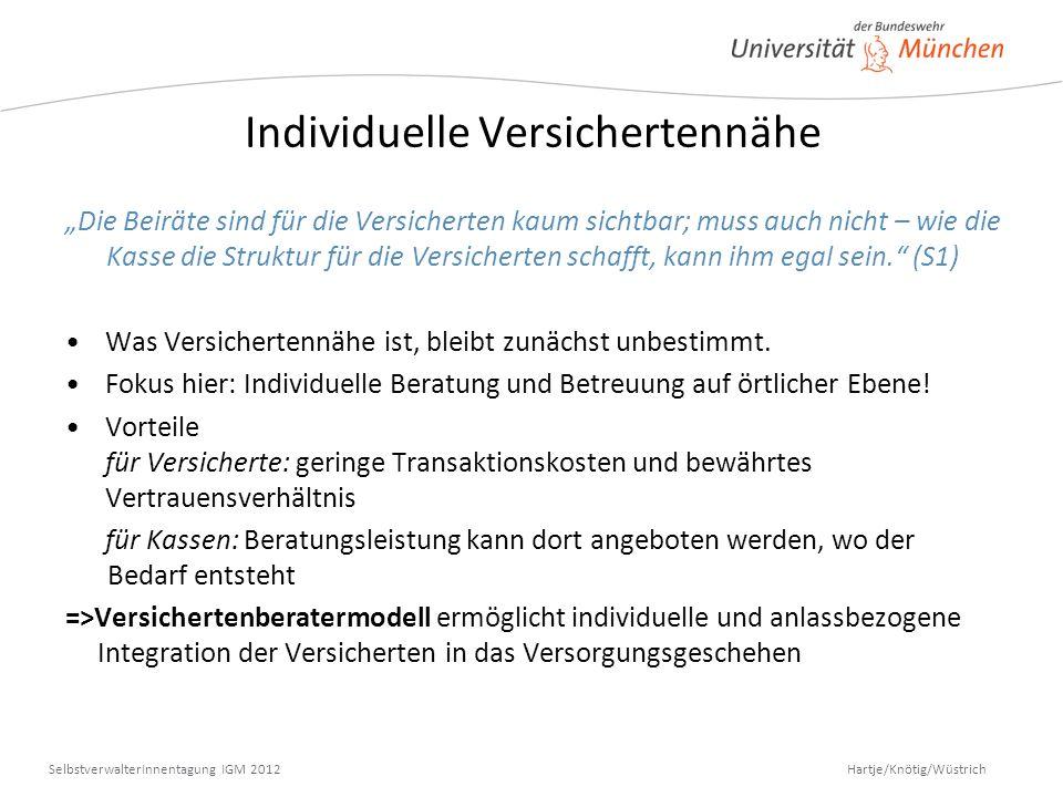 Hartje/Knötig/Wüstrich SelbstverwalterInnentagung IGM 2012 Individuelle Versichertennähe Die Beiräte sind für die Versicherten kaum sichtbar; muss auc
