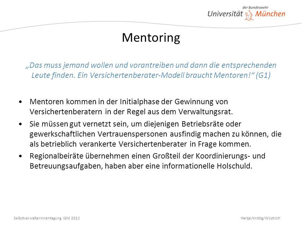 Hartje/Knötig/Wüstrich SelbstverwalterInnentagung IGM 2012 Mentoring Das muss jemand wollen und vorantreiben und dann die entsprechenden Leute finden.